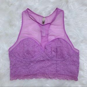 Intimately Free People Purple Floral Lace Bralette